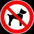 Deutsch:  Mitführen von Tieren verboten, Verbotszeichen D-P014 nach DIN 4844-2 No animals, prohibition sign D-P014 according to German standard DIN 4844-2