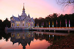 Meditation hall at night