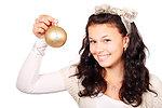 Woman with christmas bulb