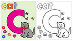 Cat coloring page letter c