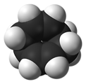 Space-filling model of the 1,5-cyclooctadiene molecule (COD), C8H12. Electron diffraction data from Kolbjorn Hagen, Lise Hedberg, and Kenneth Hedberg (1982). 'Molecular structure and conformation of cis,cis-1,5-cyclooctadiene'. J. Phys. Chem. 86 (1): 11