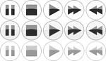 Glossy media player {normal active, focus} buttons