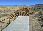 Red Gulch Dinosaur Tracksite showing some of the developed facilities, along Red Gulch/Alkali Back Country Byway, Worland Field Office.