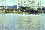 Practicing for outrigger races in the Ali Wai Canal near Waikiki Beach.