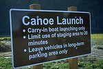 Sign at canoe launching area at Fort Benton Fairgrounds