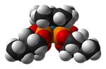 Space-filling model of the caged phosphite complex (CpMe5)RuCl(EtCage)2 as found in the crystal structure. Colour code:  Carbon, C: black Hydrogen, H: white Phosphorus, P: orange Oxygen, O: red Ruthenium, Ru: turquoise Chlorine, Cl: green  Crystal structu