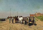 Pferdegespann mit Lastkarren auf einer sandigen Uferstraße. Öl auf Leinwand. 35 x 51 cm. Links unten signiert.