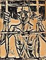 Der Gefangene. Holzschnitt auf Papier. 61 x 47 cm. Signiert.