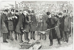 The first sod of the Wirral Railway was cut by William Gladstone using a silver-mounted spade. The proceedings were opened by Sir Edward Watkin.