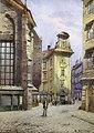 'Blick in die Kurrentgasse in Wien', links der Chor der Kirche am Hof, unten rechts signiert: W. Zajicek, Aquarell auf Papier, Bildausschnitt ca. 18 x 13 cm