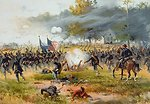 Battle of Antietam, specifically, the charge of Iron Brigade near the Dunker Church, on the morning of September 17, 1862. Chromolithograph by Louis Prang and Company of an original painting by Thure de Thulstrup.