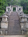 A view of the Buddhist Yapahuwa rock fortress complex Staircase in Sri Lanka. This fortress was the site of the Kingdom of Dambadeniya located here at Yapahuwa.
