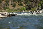 Wild section of the Rogue River from Grave Creek to Foster Bar.  3100 cfs at Grants Pass and 5300 at Agness.