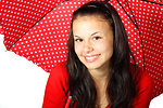 Cute woman with red umbrella