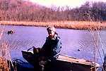 Mary Hollinger at Parkers Creek, off Chesapeake Bay, in the American Chestnut Land Trust Area.