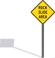 Rockslide sign with shadow