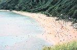 Hanauma Bay, southeast coast of Oahu.  A popular bathing and diving beach.