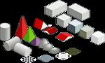 Set of basic isometric figures