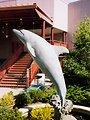 Dolphin statue at Mystic Seaport Aquarium.
