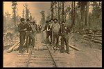 Black and white photo of a railroad work gang posing alonkg the tracks.