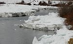 With temperatures remaining in the teens, the ice built up on a river meander which seems to start at the BLM's Big Pine Recreation Site.  From here the water and ice wind their way past the giant Roza alluvial plain, where Roza creek now drains to the Y