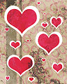 Distressed hearts red