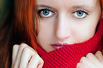 Woman and a red scarf