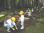 A Brownie troop and parents pitched in to clean and groom a section of trail