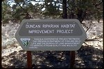 Duncan Springs Riparian Habitat Improvement project sign.