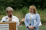Kathleen Clarke, BLM Director, presents the Four C's Award at the Little Sandy Dam to President of Administration for PGE, Arleen Barnett (pictured), and the Western River Conservancy Vice President, Sue Doroff