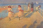 Girls running; Walberswick Pier