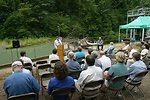 Sue Doroff, Vice President Western Rivers Conservancy, speaks during the Four C's Award at Little Sandy Dam.