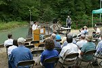 Elaine Brong, BLM State Director for Oregon, speaks during the Four C's Award ceremony at the Little Sandy Dam.  The award was presented by Kathleen Clarke, BLM Direcgor, to PGE and the Western River Conservancy.