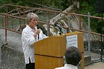 Kathleen Clarke, BLM Director, presents the Four C's Award at the Little Sandy Dam to PGE and the Western River Conservancy.