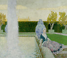 Frau im Park am Brunnen. Öl auf Leinwand. Unten rechts signiert: Erler. 100 x 119 cm.