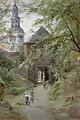 Das Augustiner Bräu und Kloster Mülln in Salzburg, signiert E. T. Compton p., Aquarell und Deckweiß auf Papier, 24,5 x 35,5 cm