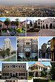 1st row: Damascus skyline - 2nd row: Damascus University, Damascus opera house - 3rd row: Four Seasons Hotel and Barada River, Syrian National Museum (Qasr Al-Hayr AL-Gharbi Facade), Omayyad Mosque - 4th row: Al-Azem Palace, Maktab Anbar.
