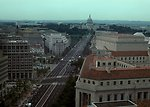View of U. S. Capitol building at the end of Pennsylvania Avenue in Washinton DC.