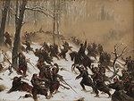 """Winterliche Kriegsszene aus dem Krieg 1870–1871. Farbige Gouache auf Karton auf Holz. 19 x 26 cm. Links unten signiert und datiert """"(18)95""""."""