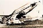 Remains of a large military aircraft after passage of tornado Tornado of March 25, 1948 at Tinker Air Force Base, Oklahoma The coming of this storm resulted in the first broadcast tornado warning