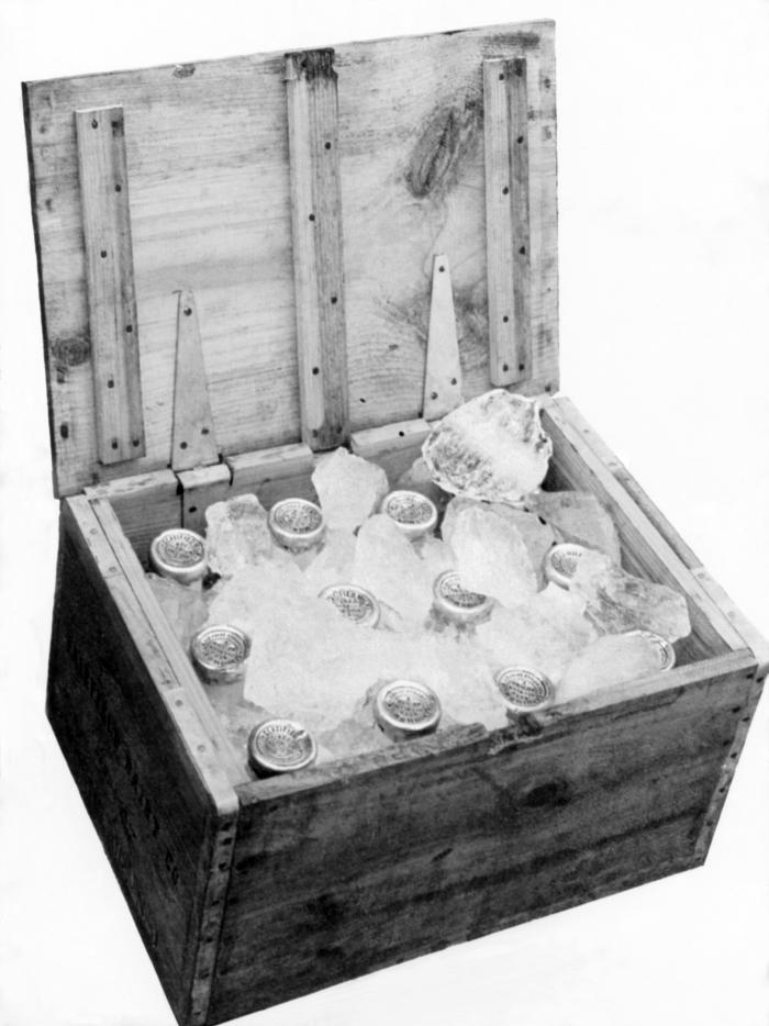 This historic 1929 photograph showed milk bottles that had been prepared for delivery by adding ice to the delivery case. Manufacturers knew