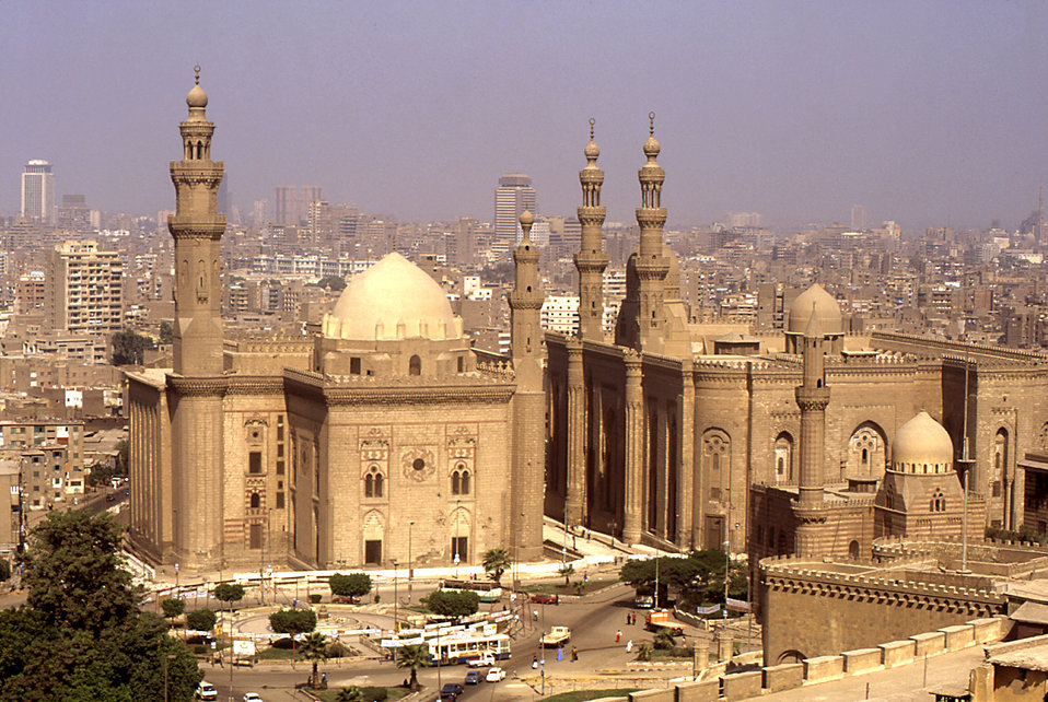 This is a view of the Sultan Hassan Mosque and madrasa (school) in Cairo, Egypt as seen from the famed Alabaster Mosque. Construction of the