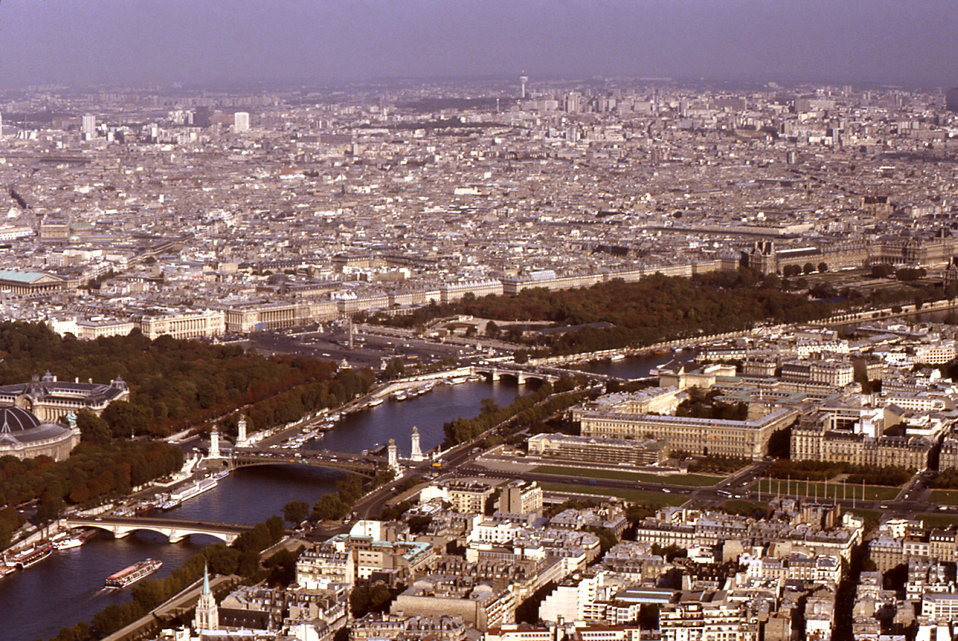 The Seine River flows through Paris, the capital city of France. This view of the Seine was from the Eiffel Tower. From this vantage point,