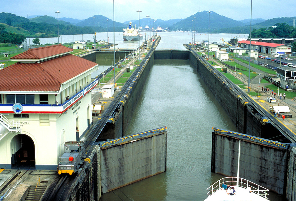 Two aspects of public health concern are in evidence in this photo of the locks at the Pacific Ocean end of the Panama Canal: the current an