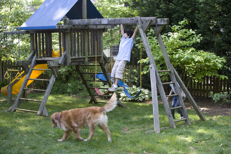 It's important to note that older wooden playsets may have been treated with arsenic and/or creosote, and therefore, parents need to know if