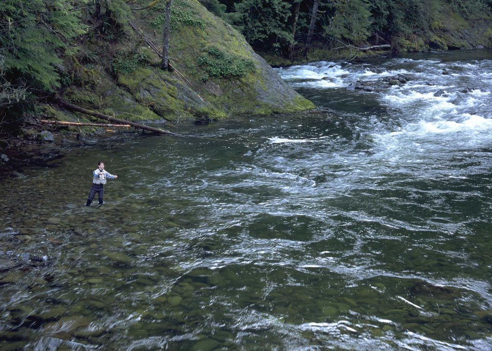 Recreationalist, Gayle Norman, fly fishing in a mountain stream.  Many water managers use NRCS's snow survey data to manage streams for recr