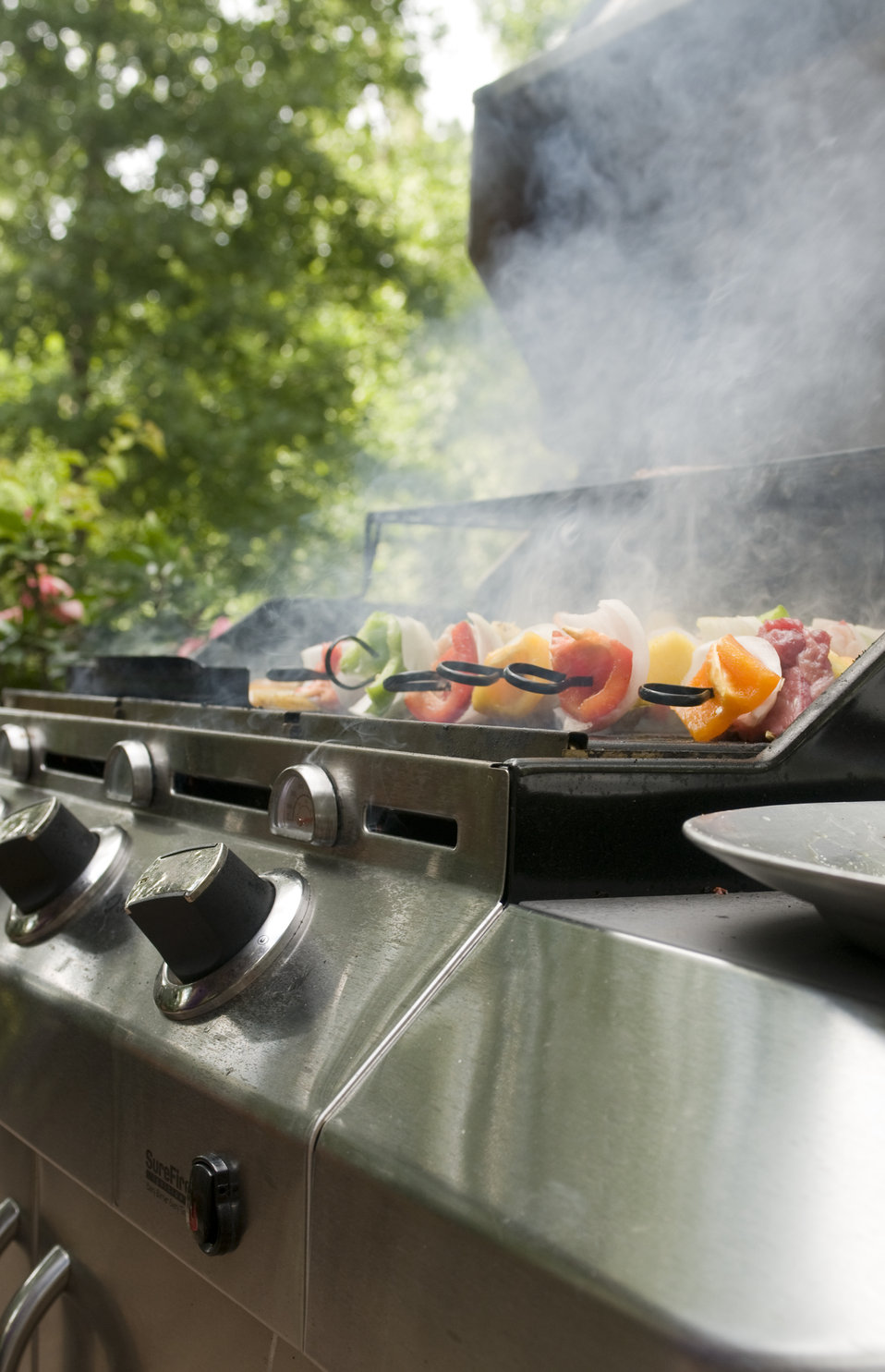 This image depicts four freshly-prepared kabobs, which had been set atop an outdoor stainless steel gas grill, and were cooking, as an entic