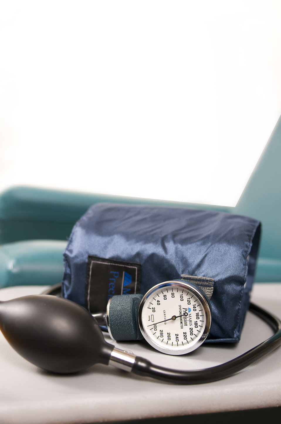In order for a healthcare provider to measure a patient's blood pressure a sphygmomanometer will be used. Pictured here, this device consist