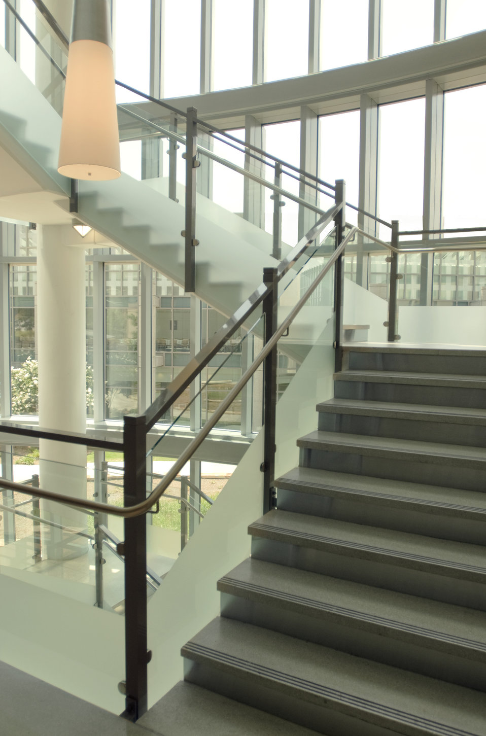 This image depicts a stairwell constructed in an open-architectural style, which was located on the Centers for Disease Control's (CDC) Royb