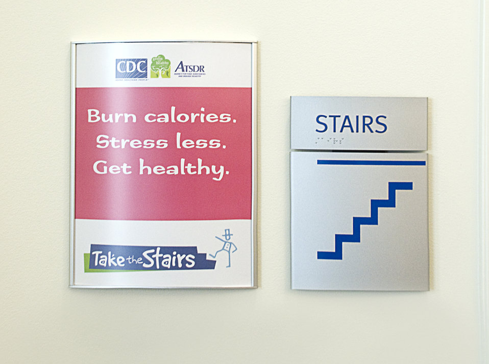 Here are two examples of signs placed throughout the facilities of the Centers for Disease Control (CDC) in Atlanta, Georgia, encouraging em